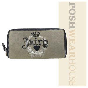 Handbags - JUICY COUTURE Stone Gray & Black Zip Wallet
